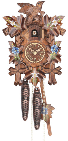 KU1100enz - 1 Day Five Leaf Cuckoo Clock w/ Hand Painted Flowers