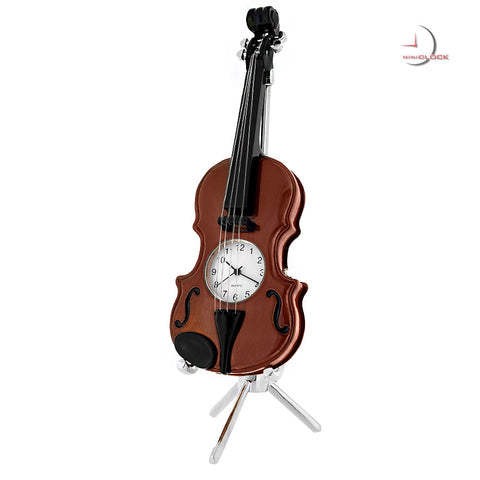 Violin Miniature Clock - Dark Brown