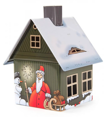 146/2205 - Smoker - Metal Smoker House w/ Christmas Motif