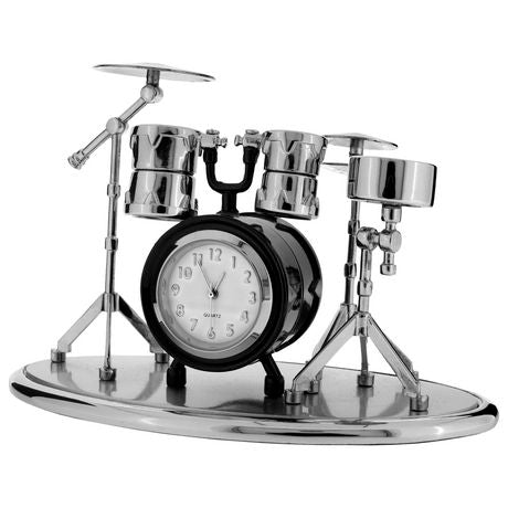 Black Drum Set Miniature Clock