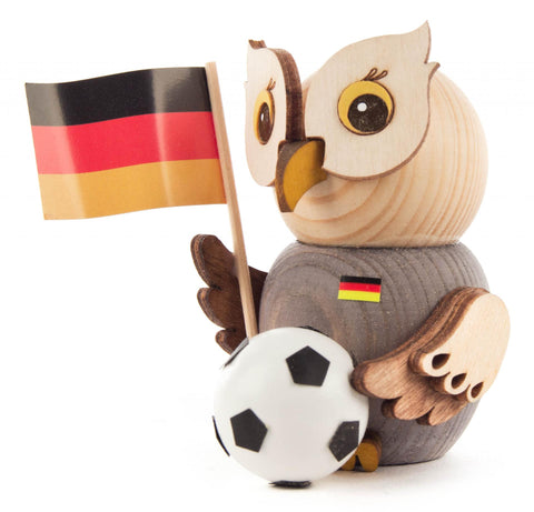 Mini Owl Figurine with Soccer Ball and Germany Flag