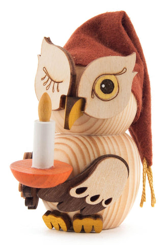 Mini Owl Figurine with Night Cap and Candle