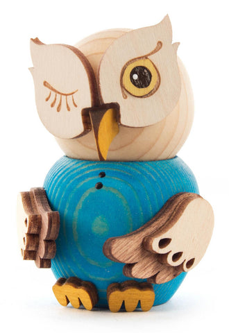 Mini Owl Figurine in Blue