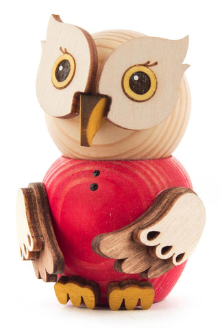 Mini Owl Figurine in Red