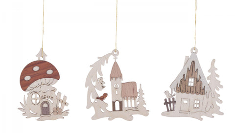 198/135 - Wooden Ornament - Winter Houses