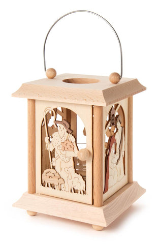 Tea Light Lantern with Nativity Carving