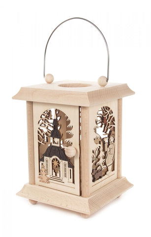 198/146 - Lantern Style Candle Holder w/ Seiffen Church