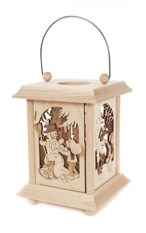 198/147 - Lantern Style Tealight Holder with Snowman and Children