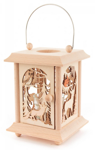 198/149 - Lantern Style Tealight Holder with Forest Animals