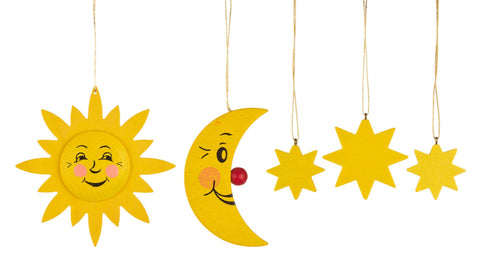 199/169 - Wooden Ornaments - Sun, Moon & Stars (Set of 5)