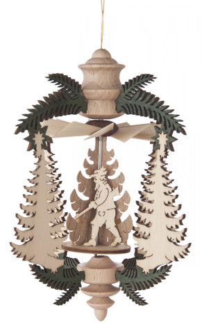 199/229/8 - Hanging Pyramid Ornament with Fir Trees & Hunting Scene