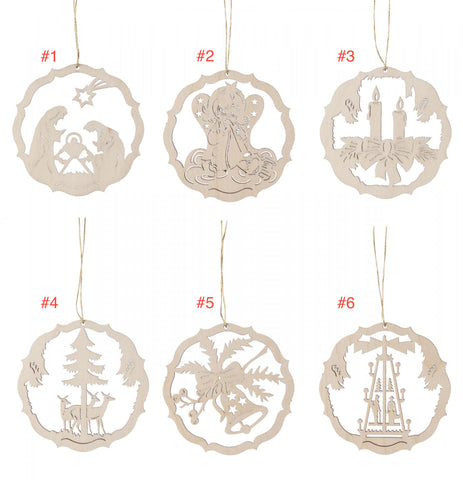 199/358/1 - Wooden Laser Cut Ornaments - Sold Individually