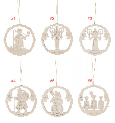 199/358/2 - Wooden Laser Cut Ornaments (2)- Sold Individually