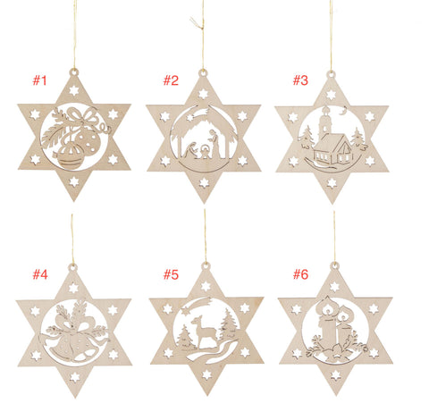 199/373 - Wooden Star Ornaments (Sold Individually)