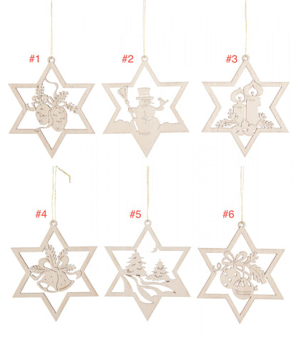 199/374 - Wooden Laser Cut Star Shaped Ornaments