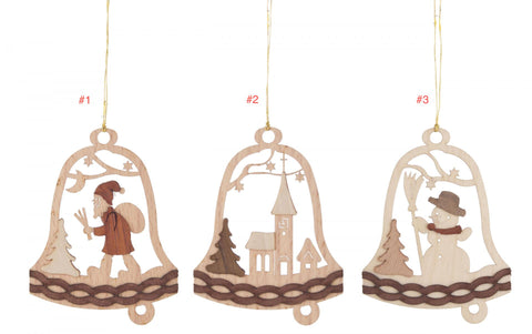199/448- Wooden Bell Ornaments (Sold Individually)