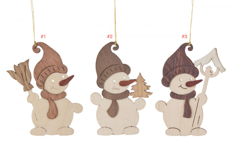 199/467 - Wooden Snowman Ornaments (Sold Individually)