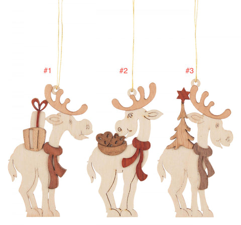 199/992 - Wooden Elk Ornaments (Sold Individually)