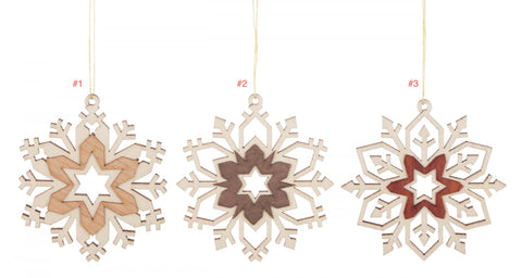 199/994 - Wooden Snowflake Ornaments (Sold Individually)