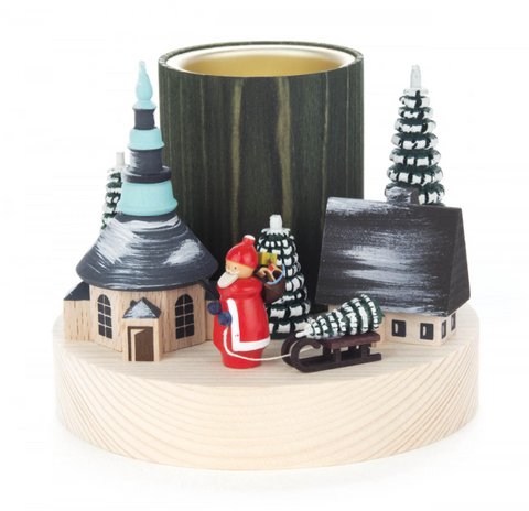 Candle Holder w/Winter Scene