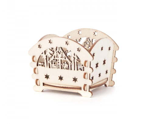201/116 - Tealight Holder with Cabin Scene