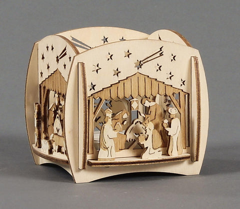 201/284/2 - Tealight Holder with Nativity Scene