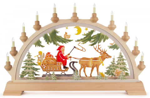 Schwibbogen w/ Santa on Sleigh W/Electric Lights