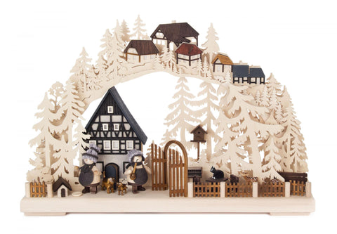 Schwibbogen w/ Village Scene Electrically Lit