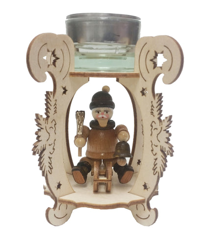 201/220 - Wooden Tea Light Holder w/ Man on Sleigh