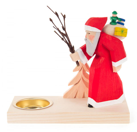 225/033 - Tealight Holder with Hand Carved Santa & Tree
