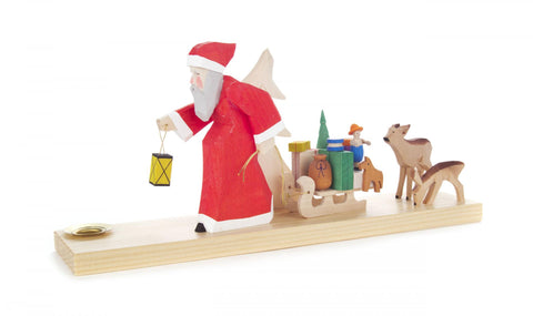 225/125 - Candle Holder - Santa with Carved Deer