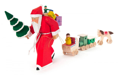 225/223/1 - Hand Carved Santa Pulling Toy Train