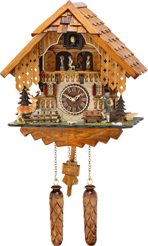 Quartz Musical Chalet with Hunter, Deer & Turning Dancers