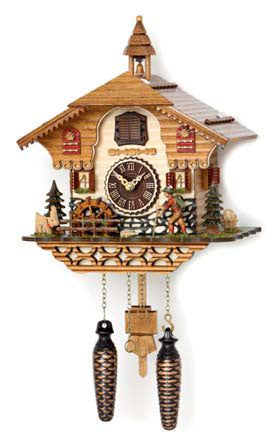 Quartz Musical Cuckoo with Boy, Deer & Turning Waterwheel