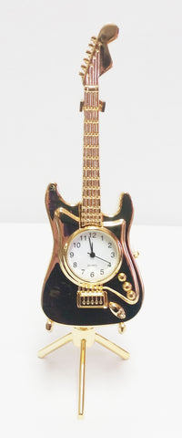 Gold Electric Guitar Clock