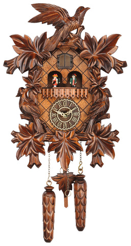 KU369QMT - Quartz Musical 7 Leaf 3 Bird Cuckoo Clock