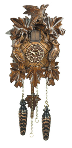 KU372QM - Quartz Musical 5 Leaf 3 Bird Cuckoo Clock