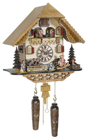 KU4219QMT - Quartz Musical Chalet Cuckoo with Girl on Rocking Horse