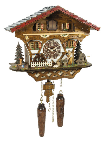 KU4221QM - Quartz Musical Chalet with Blacksmith and Waterwheel