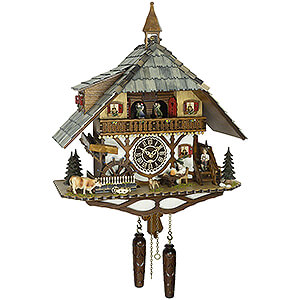 Quartz Musical Chalet w/ Animated Beer Drinker & Waterwheel
