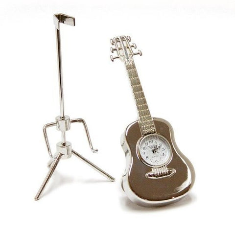 Acoustic Guitar Clock - Silver
