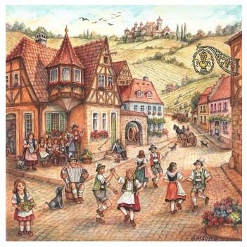 Village Dancers Tile Magnet