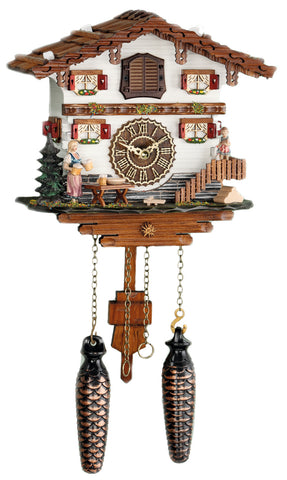 KU485QM - Quartz Musical Chalet with Waitress Carrying Steins