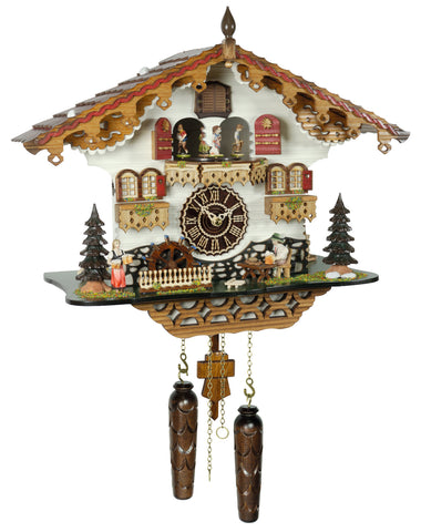KU497QMT - Quartz Musical Chalet with Animated Beer Drinker & Waterwheel