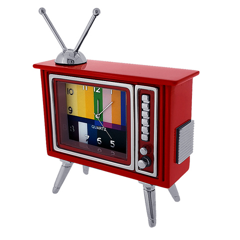 Red Retro Television Miniature Clock