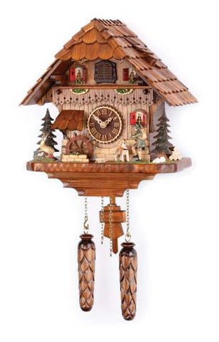 Quartz Musical Chalet with Animated Hunter & Moving Water Wheel