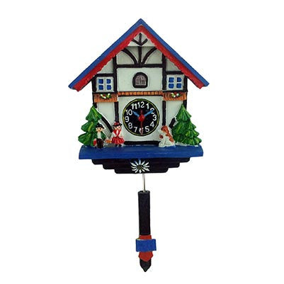 Cuckoo Clock Painted Magnet Blue and White