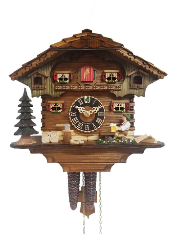 KU164 - Chalet Style Cuckoo Clock with Beer Drinker