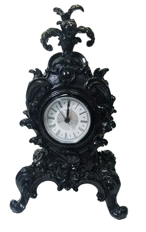 WU75597VA - Baroque Style Mantel Clock in Black