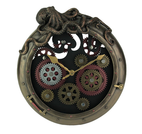 Steampunk Octopus Porthole Wall Clock